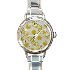 Abstract Background Hexagons Round Italian Charm Watch