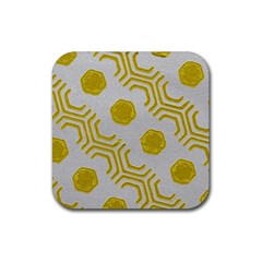Abstract Background Hexagons Rubber Coaster (square)