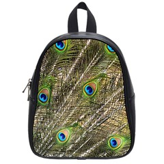 Green Peacock Feathers Color Plumage School Bag (small)
