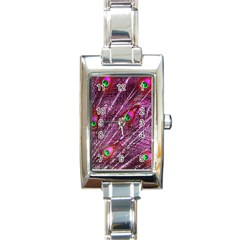 Red Peacock Feathers Color Plumage Rectangle Italian Charm Watch by Pakrebo