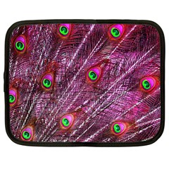Red Peacock Feathers Color Plumage Netbook Case (large)