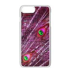 Red Peacock Feathers Color Plumage Apple Iphone 8 Plus Seamless Case (white)