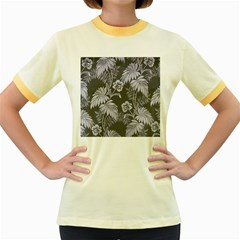 Curtain Ornament Flowers Leaf Women s Fitted Ringer T Shirt