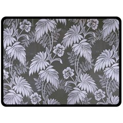 Curtain Ornament Flowers Leaf Double Sided Fleece Blanket (large)