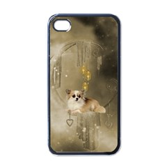 Cute Little Chihuahua With Hearts On The Moon Apple Iphone 4 Case (black)