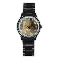 Cute Little Chihuahua With Hearts On The Moon Stainless Steel Round Watch