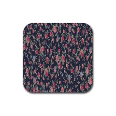 Polka Dotted Rosebuds Rubber Coaster (square)