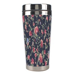 Polka Dotted Rosebuds Stainless Steel Travel Tumblers