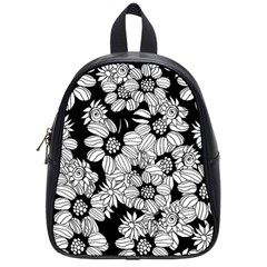 Black & White Floral School Bag (small) by WensdaiAddamns