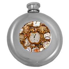 Time Clock Watches Round Hip Flask (5 Oz)