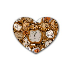 Time Clock Watches Rubber Coaster (heart)