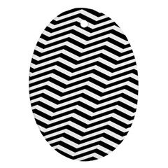 Zigzag Chevron Pattern Oval Ornament (two Sides)