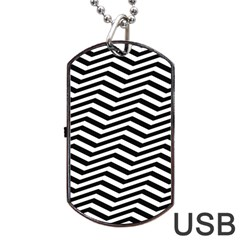 Zigzag Chevron Pattern Dog Tag Usb Flash (one Side)