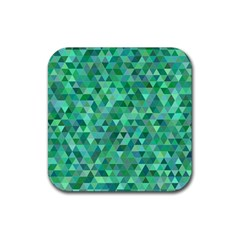 Teal Green Triangle Mosaic Rubber Square Coaster (4 Pack)