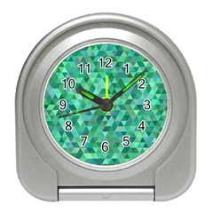 Teal Green Triangle Mosaic Travel Alarm Clock