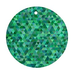 Teal Green Triangle Mosaic Round Ornament (two Sides)