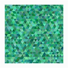 Teal Green Triangle Mosaic Medium Glasses Cloth (2 Side)