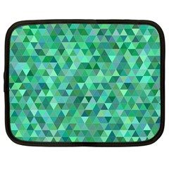 Teal Green Triangle Mosaic Netbook Case (large) by AnjaniArt