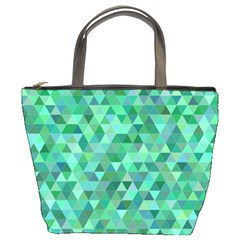 Teal Green Triangle Mosaic Bucket Bag