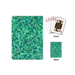 Teal Green Triangle Mosaic Playing Cards (mini)