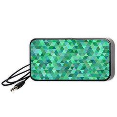 Teal Green Triangle Mosaic Portable Speaker