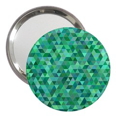 Teal Green Triangle Mosaic 3  Handbag Mirrors by AnjaniArt