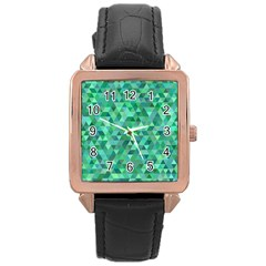Teal Green Triangle Mosaic Rose Gold Leather Watch