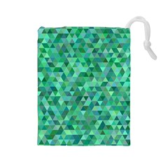 Teal Green Triangle Mosaic Drawstring Pouch (large)