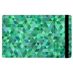 Teal Green Triangle Mosaic Apple Ipad Pro 9 7   Flip Case by AnjaniArt