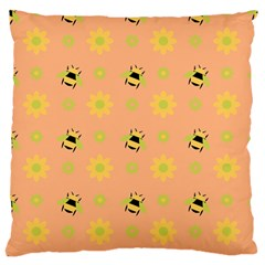 Honey Bee Mine Large Flano Cushion Case (two Sides) by WensdaiAddamns