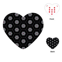 Geometric Pattern   Black Playing Cards (heart) by WensdaiAddamns