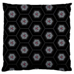 Geometric Pattern   Black Large Flano Cushion Case (two Sides) by WensdaiAddamns