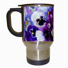 Pretty Purple Pansies Travel Mugs (white) by retrotoomoderndesigns