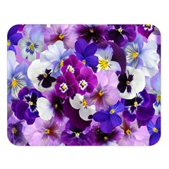Pretty Purple Pansies Double Sided Flano Blanket (large)