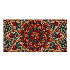 Mandala   Red & Teal  Satin Shawl by WensdaiAmbrose