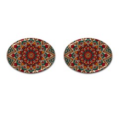 Mandala - Red & Teal Cufflinks (oval) by WensdaiAmbrose