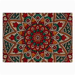 Mandala - Red & Teal Large Glasses Cloth (2-side) by WensdaiAmbrose