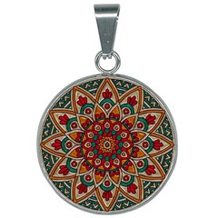 Mandala - Red & Teal 25mm Round Necklace by WensdaiAmbrose
