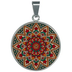 Mandala - Red & Teal 30mm Round Necklace by WensdaiAmbrose