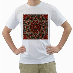 Mandala   Red & Teal Men s T Shirt (white)