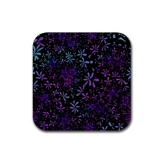 Retro Lilac Pattern Rubber Square Coaster (4 Pack)  by WensdaiAddamns