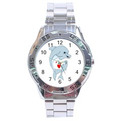 Dolphin Love Stainless Steel Analogue Watch by retrotoomoderndesigns