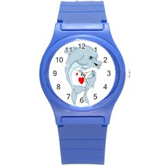 Dolphin Love Round Plastic Sport Watch (s) by retrotoomoderndesigns