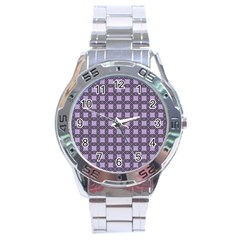 Grid Of Elegance  Stainless Steel Analogue Watch
