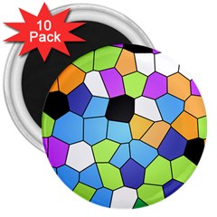Stained Glass Colourful Pattern 3  Magnets (10 Pack)  by Mariart