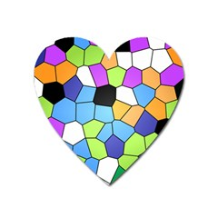 Stained Glass Colourful Pattern Heart Magnet by Mariart