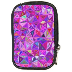Pink Triangle Background Abstract Compact Camera Leather Case by Mariart