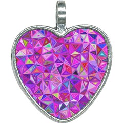 Pink Triangle Background Abstract Heart Necklace