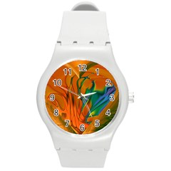 Pattern Heart Love Lines Round Plastic Sport Watch (m) by Mariart