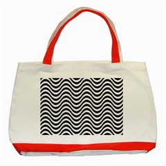 Wave Pattern Classic Tote Bag (red) by Jojostore